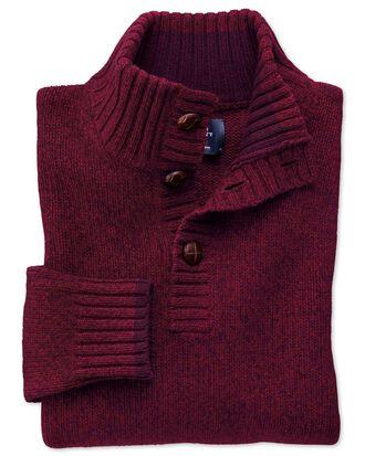 Wine mouline button neck sweater
