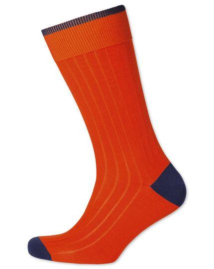 Orange ribbed cotton rich socks