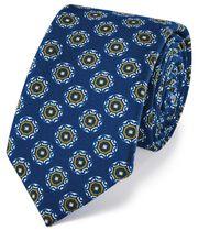 Luxuriöse italienische Woll-Krawatte in Königsblau mit Print
