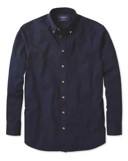Bügelfreies Classic Fit Twill-Hemd mit Button-down Kragen in MarineBlau