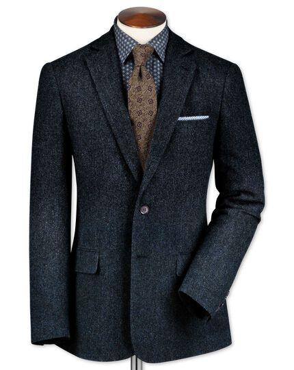Slim fit blue lambswool hopsack jacket