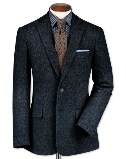 Classic fit blue lambswool hopsack jacket