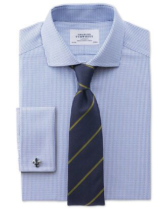 Slim fit cutaway collar Egyptian cotton textured stripe royal blue shirt