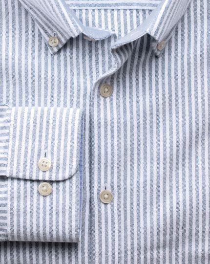 Slim fit navy bengal stripe washed Oxford shirt