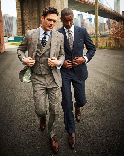 Blue slim fit thornproof luxury suit jacket