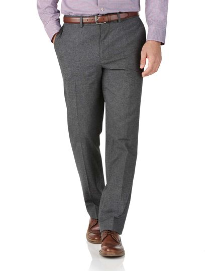 Charcoal slim fit cotton flannel puppytooth pants