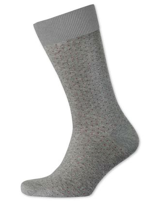 Grey and burgundy micro dash socks