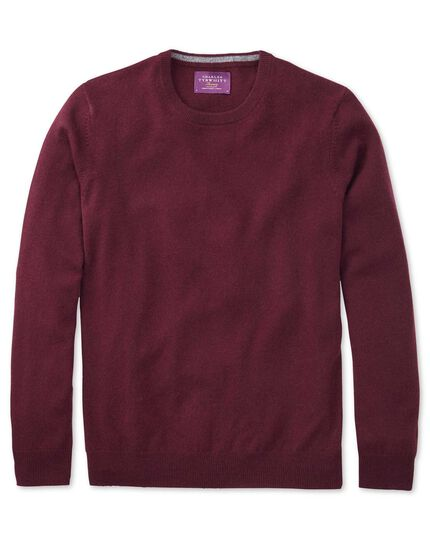 Wine cashmere crew neck jumper