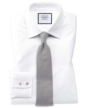 Chemise blanche en coton égyptien extra slim fit à tissage effet treillis