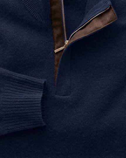 Navy cashmere zip neck sweater
