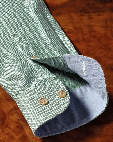 Classic fit washed textured mid green shirt