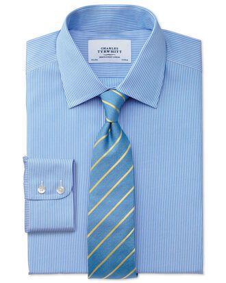 Classic fit non-iron fine stripe blue and white shirt