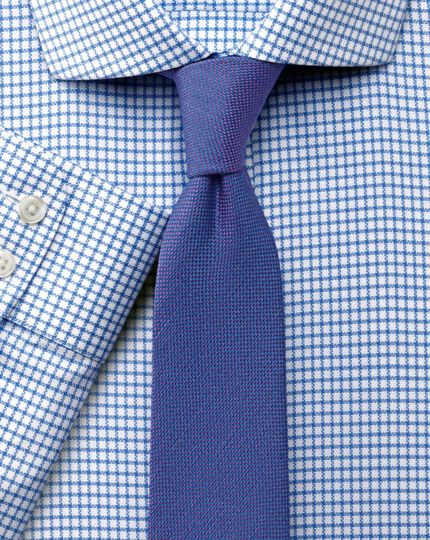 Extra slim fit non-iron cutaway collar basketweave check sky blue shirt