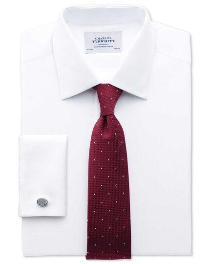 Extra slim fit Pima cotton herringbone white shirt