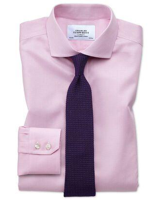 Chemise rose clair en pied-de-poule sans repassage slim fit avec col cutaway
