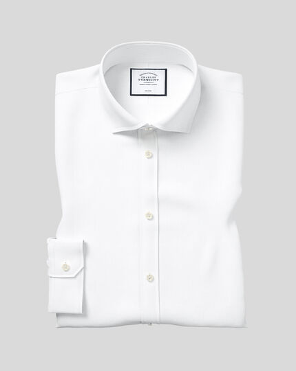 Super slim fit spread collar non-iron twill white shirt