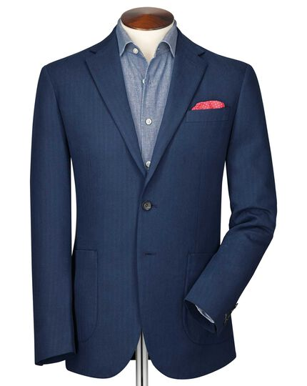 Slim fit indigo herringbone jacket