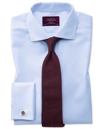 Slim fit semi-cutaway non-iron luxury hairline stripe sky blue shirt