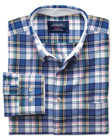 Extra Slim Fit Oxfordhemd in Blau mit Bunten Karos