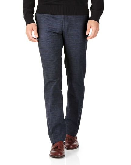 Indigo slim fit cotton flannel check pants