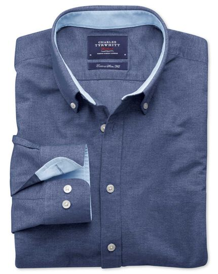 Extra Slim Fit Oxfordhemd in Jeansblau