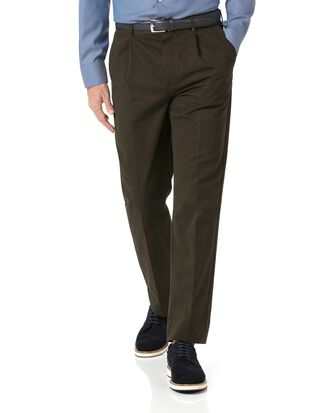 Brown classic fit single pleat non-iron chinos