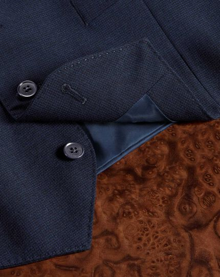 Indigo blue puppytooth Panama business suit waistcoat