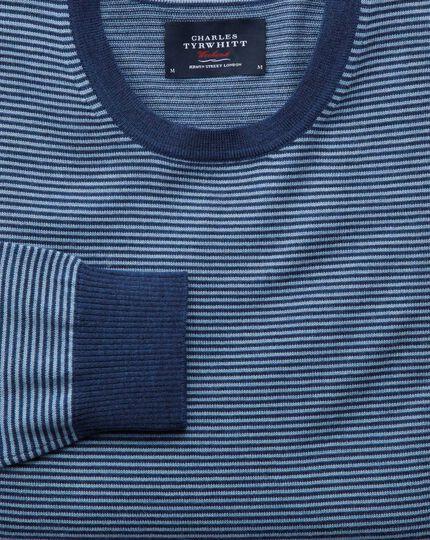 Merino Pullover mit Rundhalsausschnitt in Mittelblau