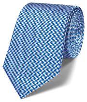 Cravate classique bleu roi pied-de-poule en soie