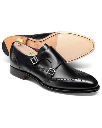 Chaussures noires en daim Made in England à deux boucles