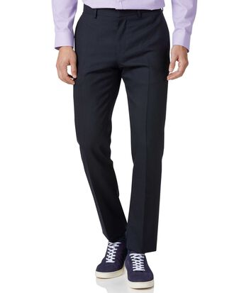 Navy slim fit Merino business suit trousers