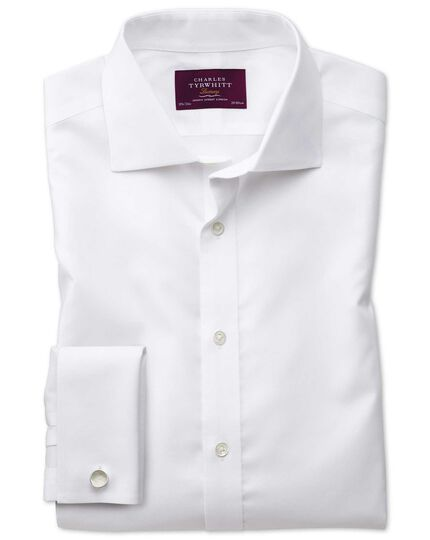 Slim fit semi-cutaway non-iron luxury white shirt