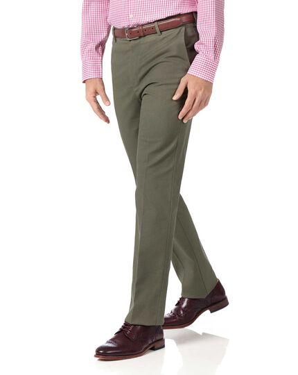 Bügelfreie Slim Fit Stretch-Hose in Olivgrün