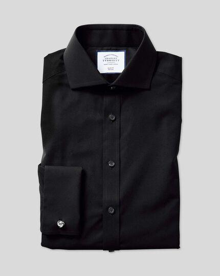 Slim fit spread collar non-iron poplin black shirt
