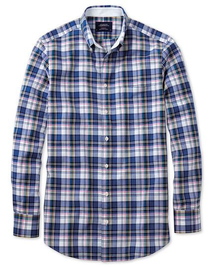 Classic fit blue multi check washed Oxford shirt