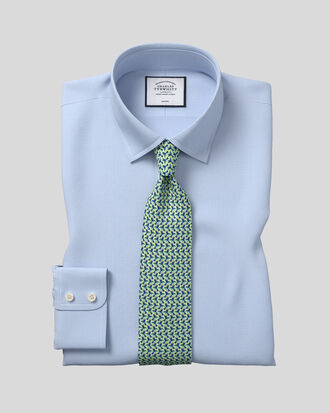 Slim fit non-iron puppytooth sky blue shirt