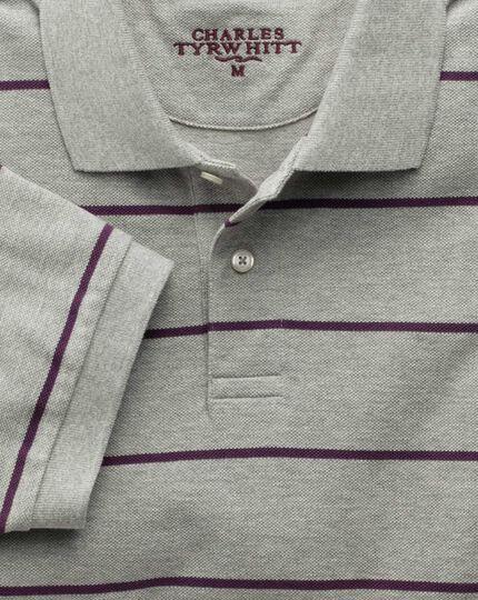 Grey and purple stripe pique polo