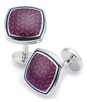Berry enamel herringbone square cufflinks