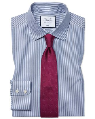 Classic fit non-iron Bengal stripe navy blue shirt