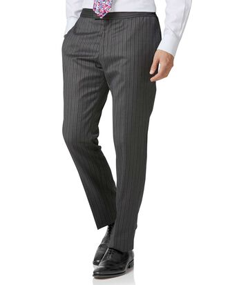 Black stripe slim fit morning suit trousers