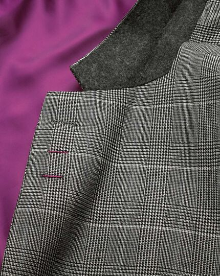 Grey check classic fit twill business suit jacket