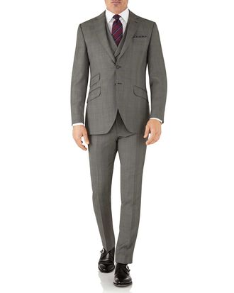 Slim Fit italienischer Luxus Anzug aus Sharkskin in Silber mit Karos