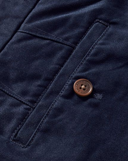 Navy slim fit flat front weekend chinos