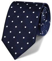 Navy silk spot classic tie
