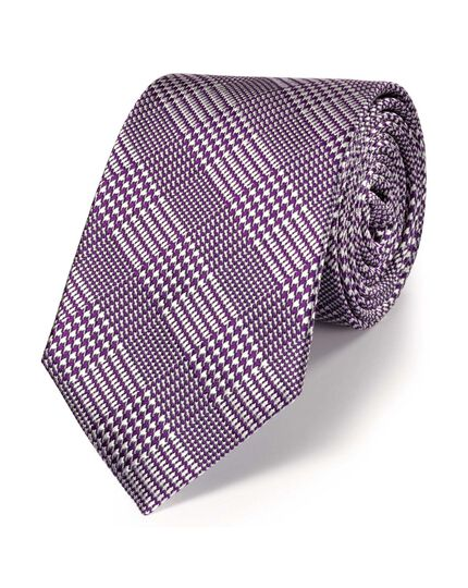 Purple silk classic Prince of Wales check tie