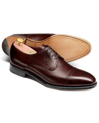 Brown Hallworthy calf leather toe cap brogue Derby shoes