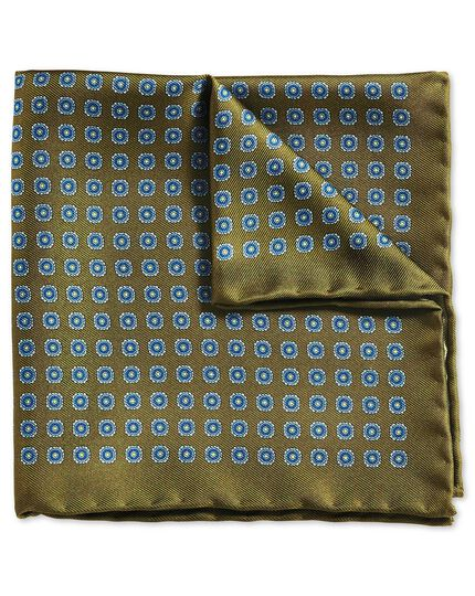 Olive and blue classic printed medallion pocket square