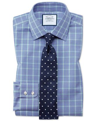 Extra slim fit Prince of Wales check blue and green shirt