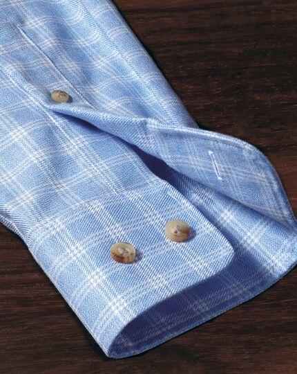 Slim fit non-iron windowpane check sky blue shirt