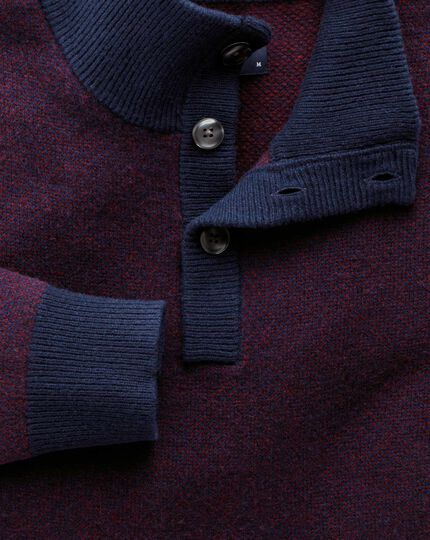 Navy jacquard button neck jumper